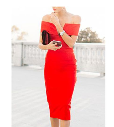 V-Notch Off-The-Shoulder Red Sheath Dress Romwe stylecabin.png