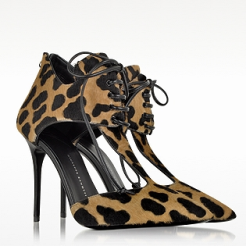 Frida Leopard Print Lace-Up Pump heels for women