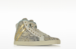 Multicolor Snake Print Leather High Top Sneaker fashion sneakers for women