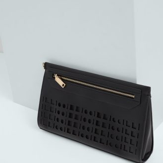 Perforated panel clutch black Mango sstylecabin
