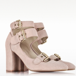 Powder Pink Suede Pump heels for women
