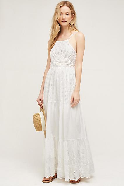 Robe longue Marguerite, blanc