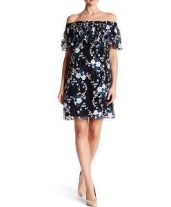 Zac Posen Off-the-Shoulder Mesh Floral Dress