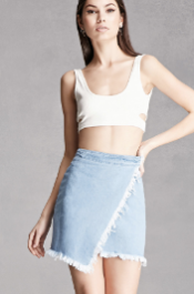 FOREVER 21+ FRAYED WRAP DENIM MINI SKIRT.png