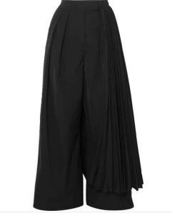 A.W.A.K.E. - Layered Pleated Crepe Wide-leg Pants - Black