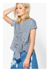 BOOHOO MAISIE MIXED STRIPE TIE FRONT SHELL TOP.png