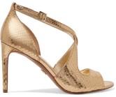 Michael Michael Kors Catia Metallic Embossed-Leather Sandal