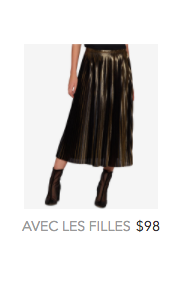 Avec les Filles gold pleated skirt.png