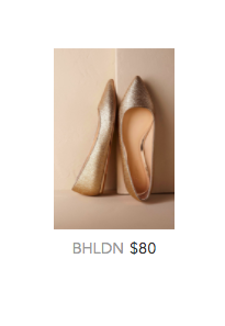 BHLDN gold flat shoes