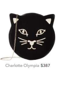 Charlotte Olympia cat bag black and gold