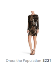 Dress the Population gold and black dress