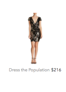 Dress the Population gold black dress